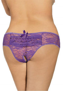 Plus Size Lace Open Crotch Hipster With Ruffles.