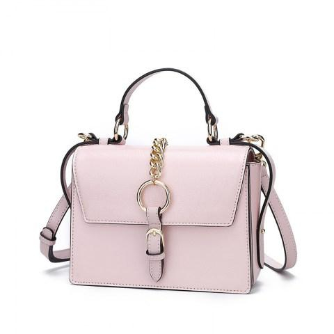 Women's PU Leather Metal Chain Decoration Shoulder Bag Tote Handbag.