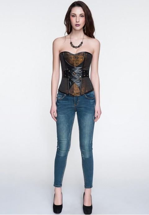 Jacquard Pattern & Leather Design Elegant Gothic Corset.