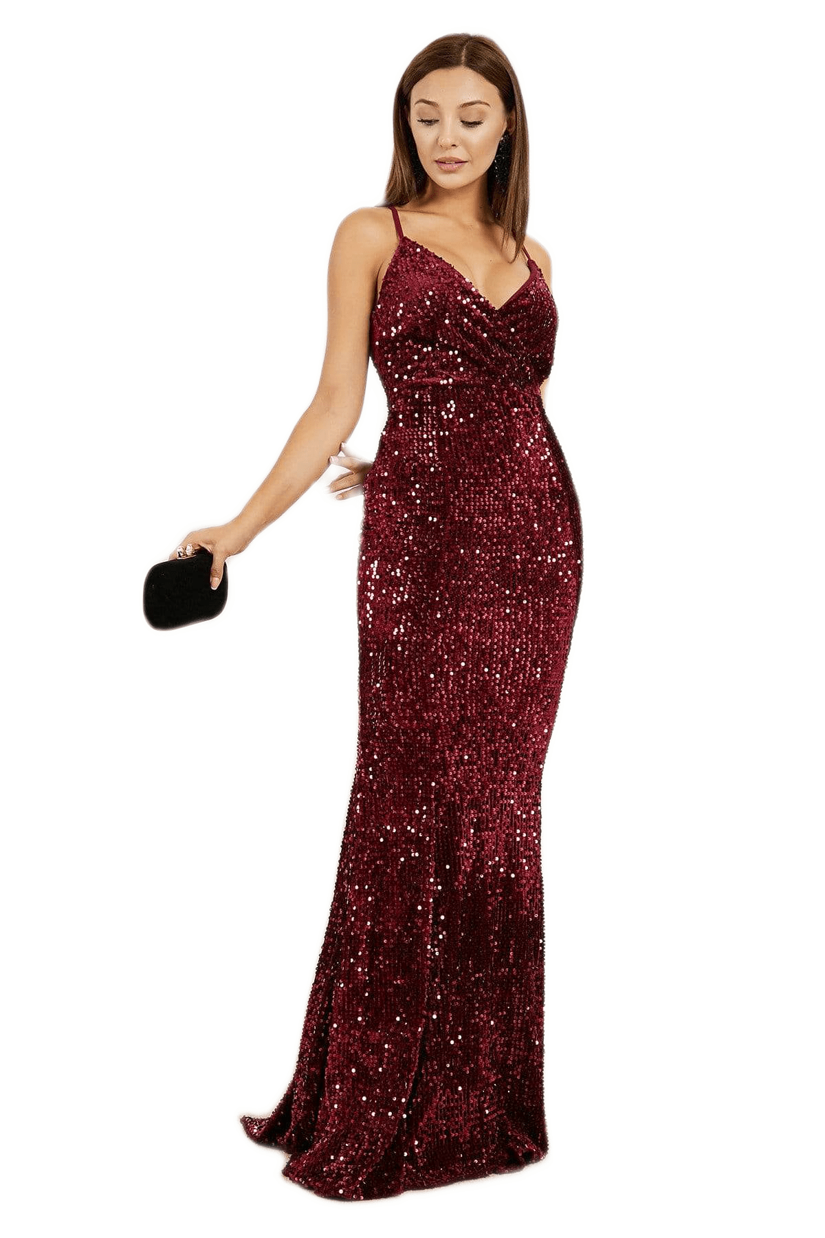 Women's Claret Red Long Evening Dress.