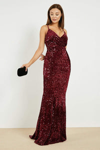 Women's Claret Red Long Evening Dress