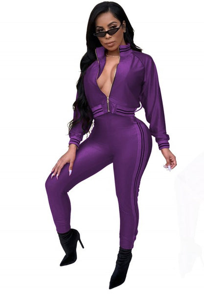 Women's Long Sleeve Zip Up Fitness Bodycon Sport Suit - Fashion Under Arrest