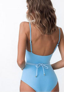 Solid Color One Piece Swimsuit.