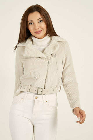 Women's Fur Collar Light Beige Velvet Jacket