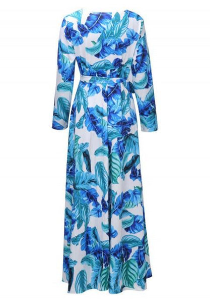 Multi-Color Print Wrap Dress