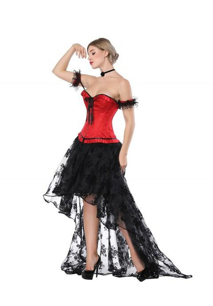 Sexy Red Sweetheart Overbust Corset And High Low Skirt.