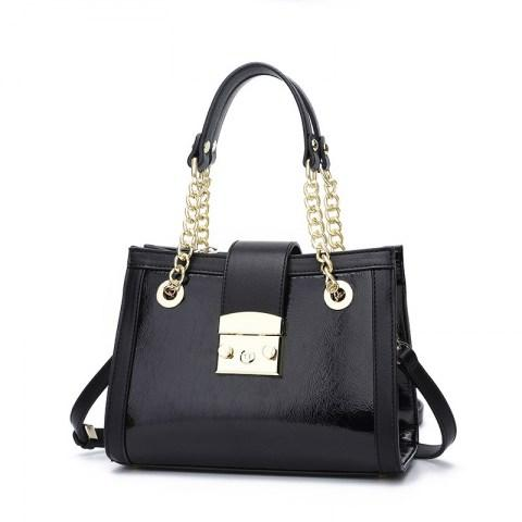 Women's Metals Buckle PU Leather Tote Handbag