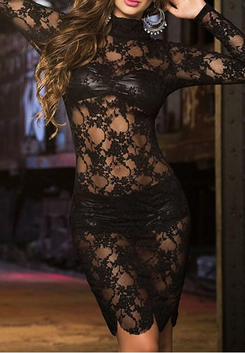 High Neck Black Lace Long Sleeve Lingerie Set - Fashion Under Arrest