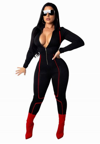 Women's Sexy V Neck Long Sleeve Party Clubwear Zipper Jumpsuit.