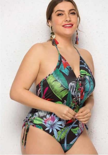 Plus Size Bali Print One Piece Swimsuit.