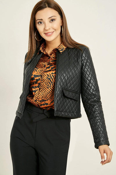 Women's Black Leather Quilted Jacket.