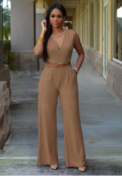 Solid Color V-Neck  Jumpsuits With Belt