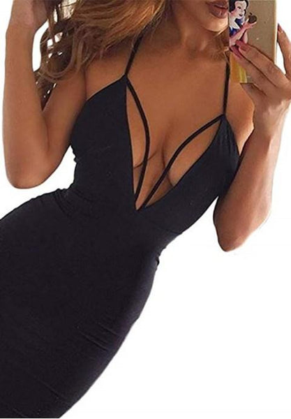 Women's Party Club Wear Bandage Dress Sexy Deep V-Neck Halter Bodycon Midi Dress - Fashion Under Arrest
