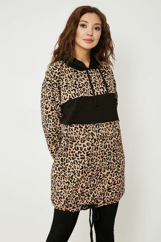 Women's Hooded Leopard Pattern Tunic