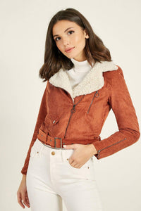 Women's Fur Collar Tile Red Velvet Jacket