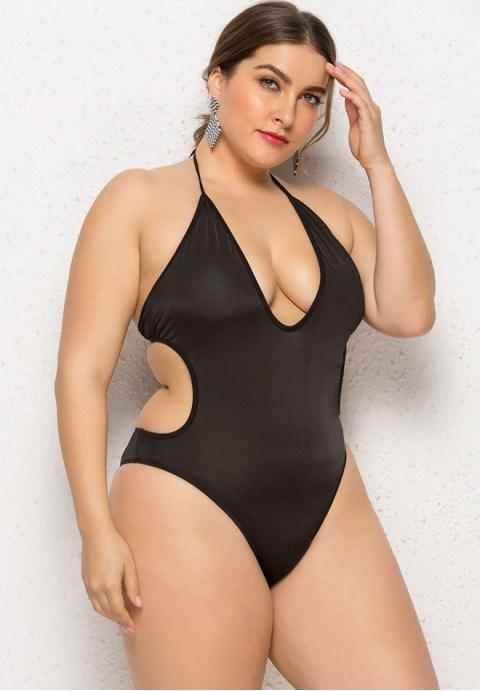 Plus Size Cut Out One Piece Swimsuit.