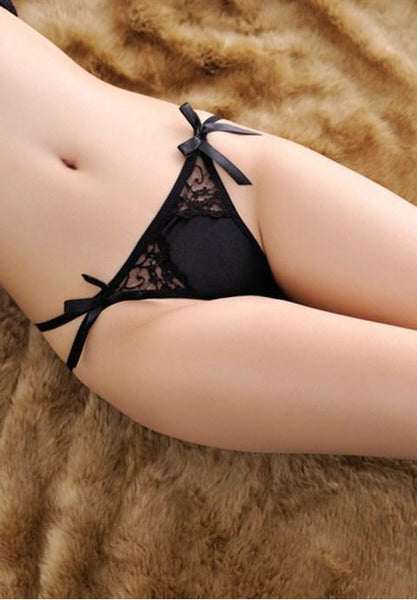 Low Waist Sheer Lace G-string with Ribbon Details - Fashion Under Arrest