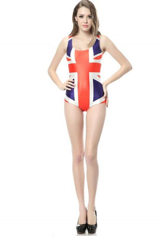 The flag printed one-piece Swimsuit