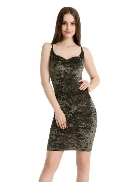 Velvet Sexy Sleeveless Sling Bodycon Midi Dress.