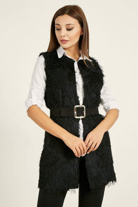 Women's Black Plush Long Vest