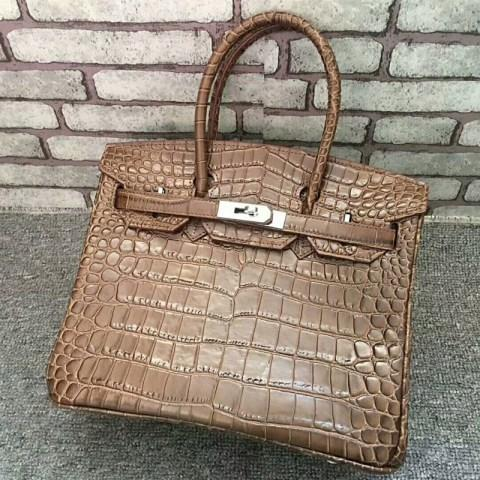 Women's Leather Cocrodile Pattern Handbag.