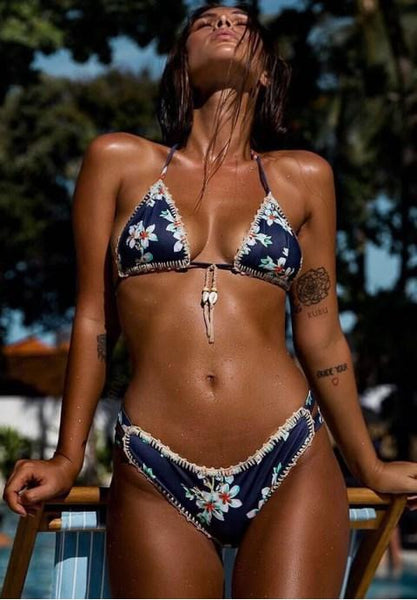 Boho Floral Crochet Trim Triangle Bikini Swimsuit.