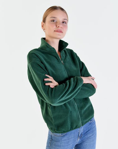 Women's Zipped Green Polar Fleece Cardigan