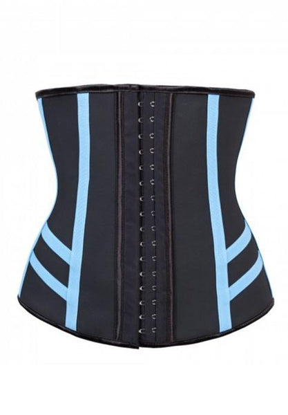 Steel Boned Training Corset with Light Blue Elastic Tape.