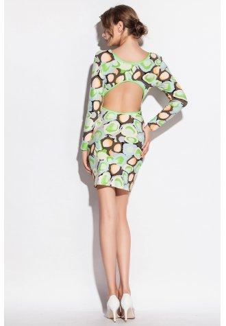 Candy Color Long Sleeve Stone Pattern Print Club Dress.