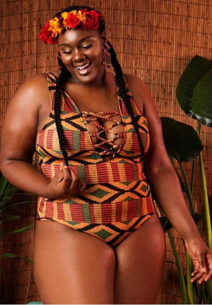Plus Size Crisscross Strappy Front Ethnic One Piece Swimsuit.