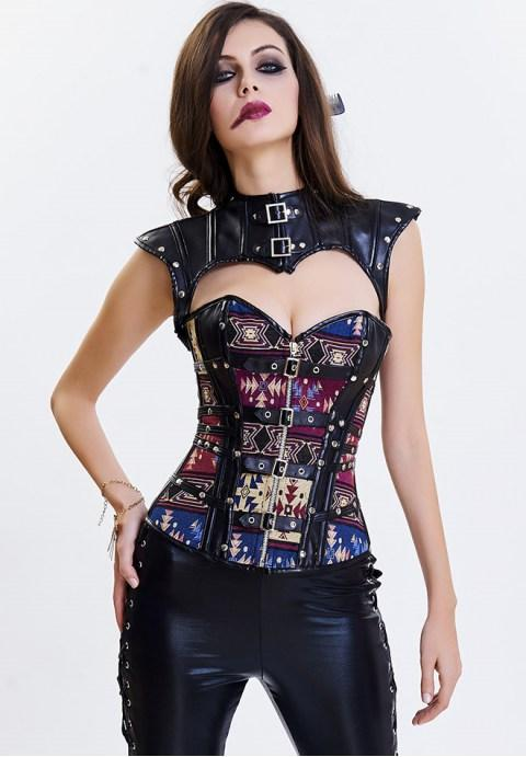 Jacquard Buckle-up Zipper Steampunk Faux Leather Corset with Cap Sleeve Shrug.