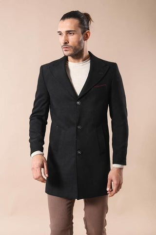 Men's Button Pocket Black Coat