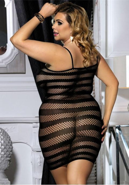 Plus size fishnet dress.