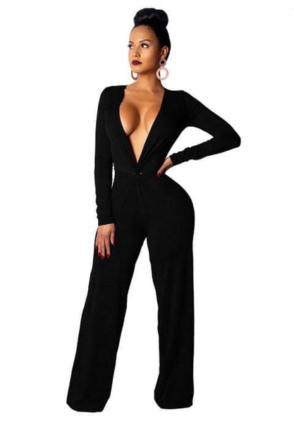 Sexy Fashion Casual Long Sleeve V-neck Jumpsuit.