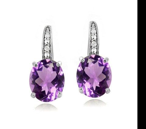 1.50 Ct Oval Cut Amethyst with Pave crystals Stud Earring in 18K White Gold Plated.