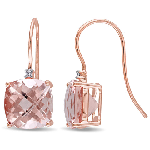 3.50 Pave Genuine Morganite Cushion Cut Drop Earringin 18K Rose Gold Plated.