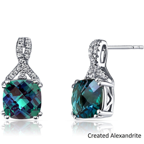 2.00 CT Cushion Cut Amazonite Blue Stud Earring in 18K White Gold Plated - Fashion Under Arrest