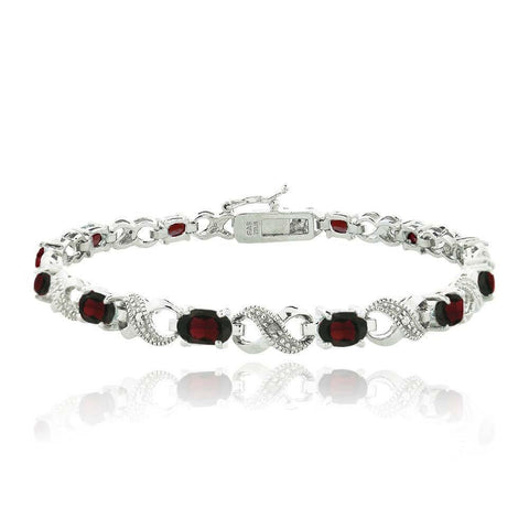 10.00 CT Genuine Ruby Infinity Bracelet Embellished with Swarovski Crystals in 18K White Gold Plated - Fashion Under Arrest