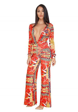 Printing Long Sleeve V-neck Wide Leg Jumpsuit Rompers - Fashion Under Arrest