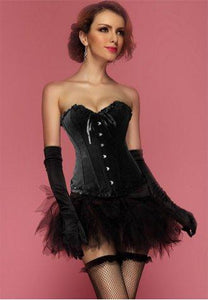 One Set- Black Floral Jacquard Tapestry Boning Corset Bustier with Tutu Skirt.