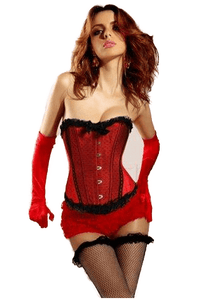 Burlesque Bows Strapless Corset With Red Ruffle Panties.