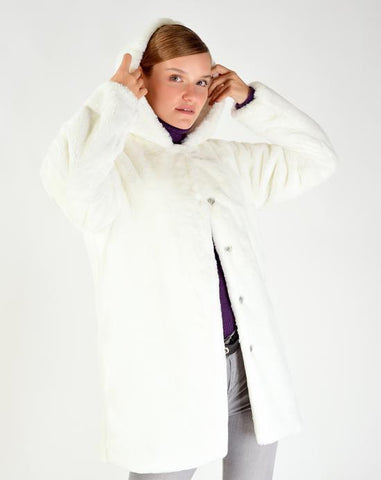 Women's Hooded White Fur Jacket
