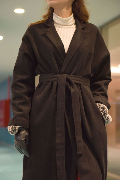 Women's Belted Lined Brown Cachet Coat.