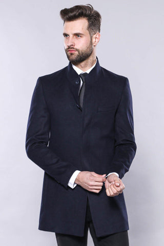 Men's Crew Neck Long Navy Blue Coat