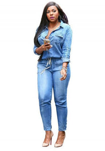Long Sleeve Denim Jumpsuit.