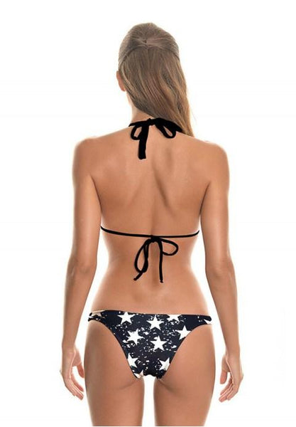 Bikini Swimsuit For Women Two Pieces Five-Pointed Star High Cut Triangle Bikinis.