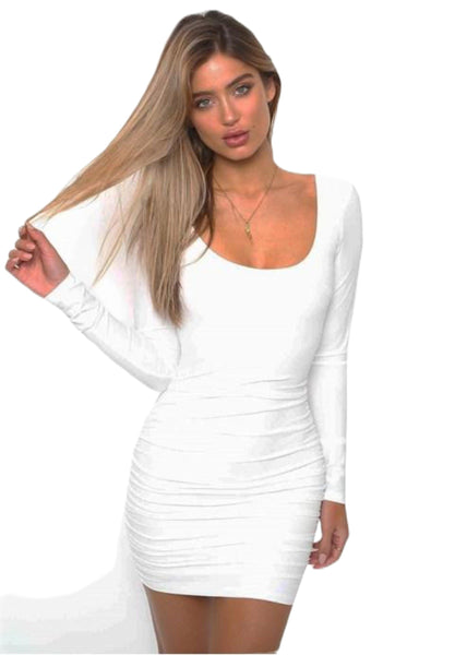 Sexy Backless Long Sleeve Bodycon Clubwear Midi Dress.