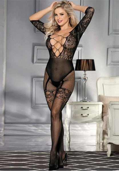 Plus Size Abstract Pattern Scoop Back Bodystocking.