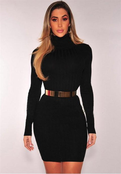 Sexy High Neck Bodycon Dress.