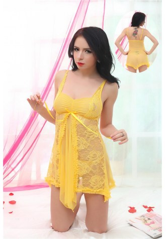 Yellow Flower Embroidered Lace Babydoll - Fashion Under Arrest